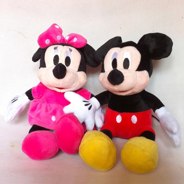 2015 новый горячий 30 см 2 шт./лот прекрасный микки и минни животных чучела девушки куклы плюшевые игрушки для детей подарок детские игрушки