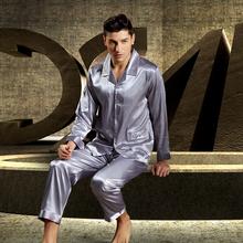 Mem's Pink/Gray Silk Pajama Sets Casual Sleepwear Underwear two piece sets(China (Mainland))