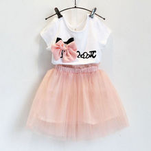 Children Kids Girl Clothes Sets Bow Cartoon Minions T-shirt Tops + Tulle Tutu Skirts 2016 Outfits Set 2 - 7Y UK Moment store