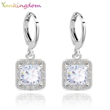 Yunkingdom 5 Colors 2015 New Hot Sale Real Gold Plated Zircon Gem Big Brand earrings Small Dangler for Women Fashion Jewelry(China (Mainland))