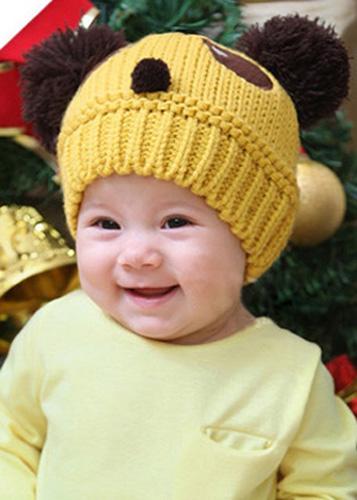 1PC Yellow Panda Handmade Knit Crochet Baby Beanie Hat Cap 21cmx17cm(China (Mainland))