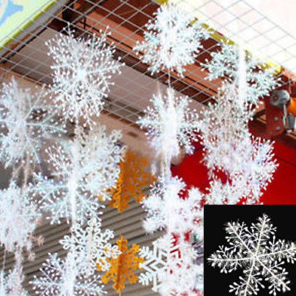 2016 HOMESTIA 30pcs Christmas White Snow flake Snow String Christmas Decor Festival Party Ornaments Xmas Supplies Free Shipping(China (Mainland))