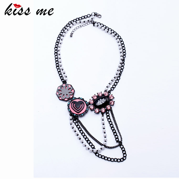 Women Novelty Guns Black Pated Heart Oval Flower Pendants Simulated Pearls Chain Tassel Necklace Factory - KISS ME Official Store store
