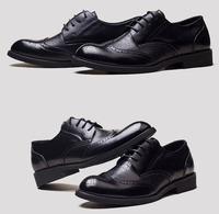 мужчины полуботинок обувь 2015 года Британская ретро стиль бизнес формальных кожа плоский платье
