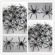 20pc/2 Bags Halloween Horror Prop: 42mm Cute Black Spider Plush Puppet Toy Ornaments atMk(China (Mainland))