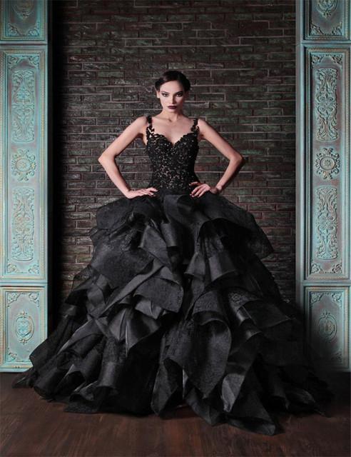 Милая длиной до пола устали off-плечи бальные платья свадебное платье черного свадебные платья ограниченной черный готические свадебные платья