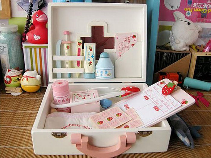Free Shipping+100% Brand New Wooden Doctor Baby Play House Toys Sets Birthday,Christmas Gift for Children-Medical Kit