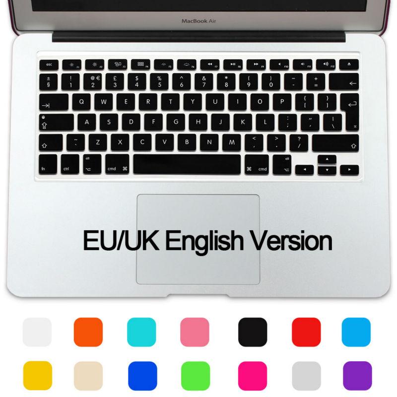 Silicone Keyboard Protector EU UK layout Film Cover Skin For Macbook Air 13 Mac book Pro 13 15 retina(China (Mainland))