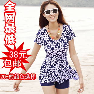Quinquagenarian swimwear short-sleeve plus size one piece hot spring female sleeves - Online Store 927388 store