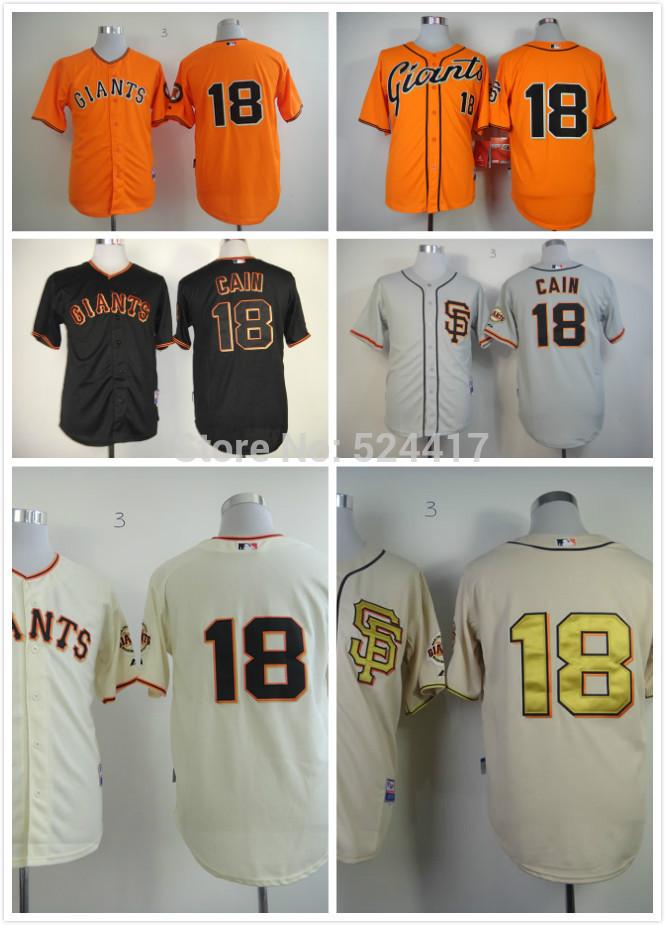 stitched men's baseball jersey San Francisco Giants/SF giants 18 Matt Cain Baseball Jerseys /shirt Embroidery logos(China (Mainland))