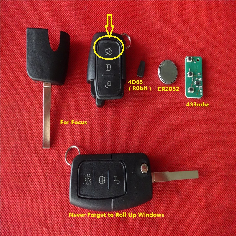 Best price remote key fob 3 button with 433mhz 4D63 80 bit chip for Focus with roll up windows function and 2X button(China (Mainland))