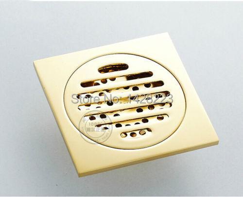 "Modern New Designed Golden Finished Square Art Bathroom Shower Floor Drain Washer Grate Waste Drain 4""(China (Mainland))"