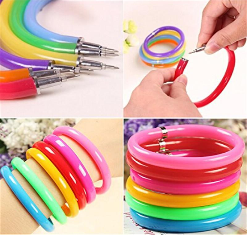 Hot Selling 10pcs Flexible Ball Pen Cute Soft Plastic Bangle Bracelet Wristlet Circlet Ballpoint Pens School&Office Supplies(China (Mainland))
