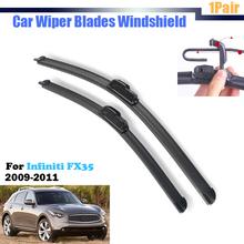 2Pcs Auto Soft Rubber Wiper Blades For 2009-2011 FX35 Car Windscreen Windshield Bracketless
