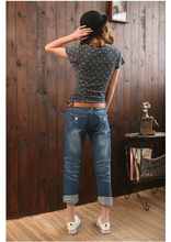 Free shipping Hot selling 2015 new summer style female jeans Ms jeans Straight barrel ladies Denim