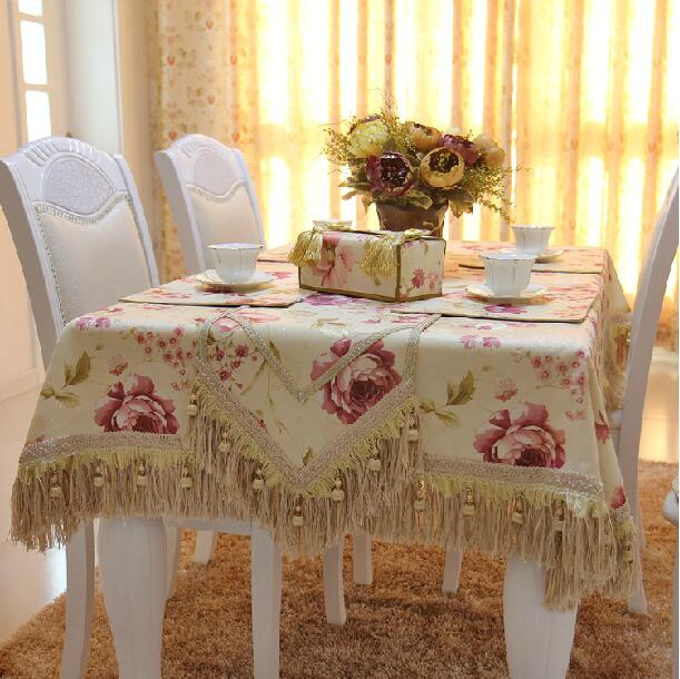 High Quality Pastoral Rose Custom Christmas Table Cloth / Comfortable Beige Dinning Table Cover Tablecloth for Home Decoration(China (Mainland))