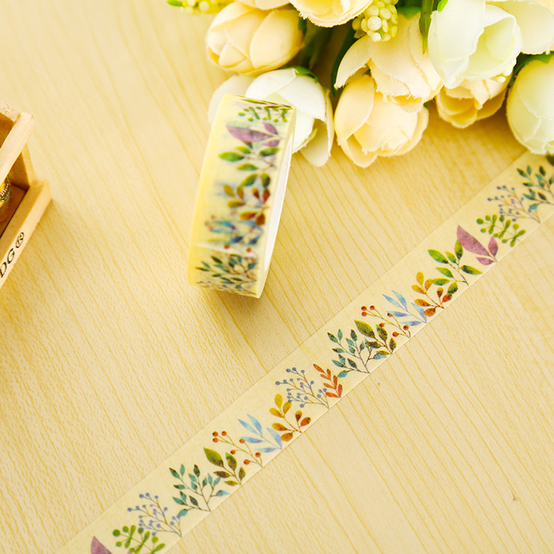 1 x 1.5cm*10m Herbaceous Plant washi tape DIY decoration scrapbooking planner masking tape adhesive tape kawaii stationery(China (Mainland))