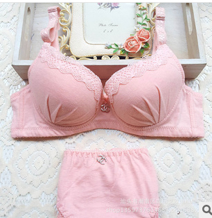 Young Girl Adjusted Gathered Bra Set Back Closure Three Hook-and-eye Push Pink/Light Blue/Black/White Color - Lindatrade Space store