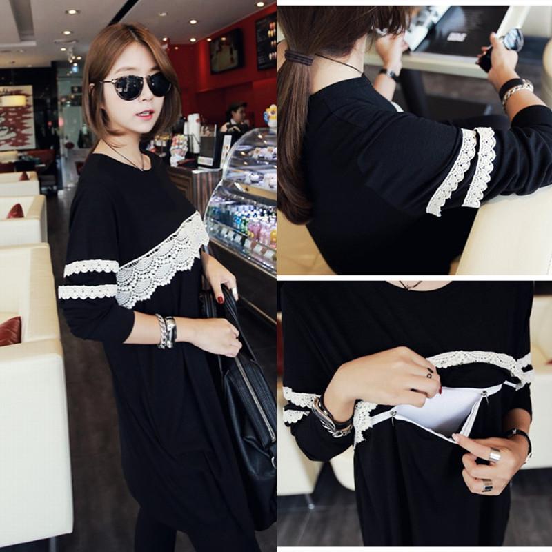 202# Black Maternity Nursing Dress Breast Feeding Clothes for Pregnant Women 2015 New Fashion Spring Autumn Pregnancy Clothing(China (Mainland))