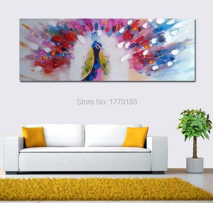 100% hand-painted Canvas Wall Art large Abstract Oil Painting peacock color bird Modern fashion Art Wall Picture Home Decoration(China (Mainland))