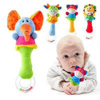 one piece New Lovely Baby Kid Soft Animal Model Handbell Rattles Handle Developmental Toys