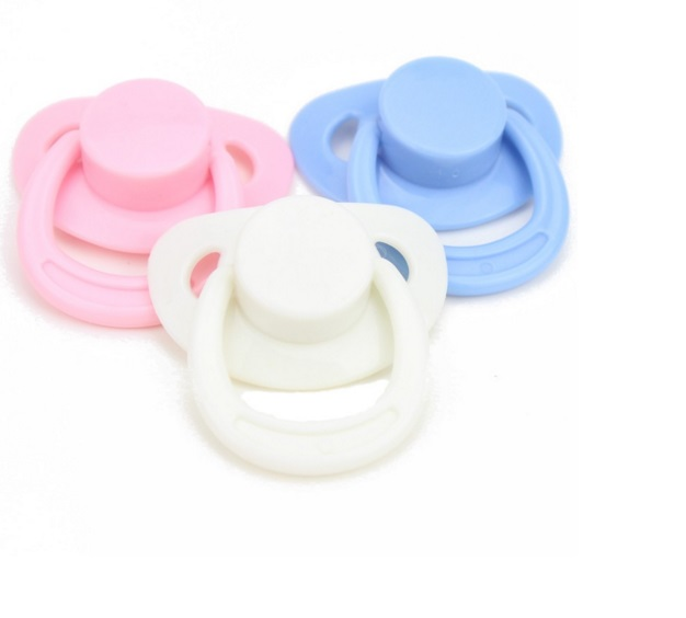 DUMMY PACIFIER SOOTHER + MAGNET FOR REBORN BABY DOLL OOAK 3 Set Pink Blue White Nipple(China (Mainland))