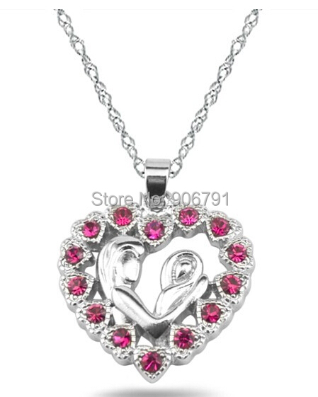 Newest Fashion 30pcs a lot Zinc Alloy Rhodium Plated Red Crystal Mother and Child Heart Pendant Necklaces Jewelry(China (Mainland))