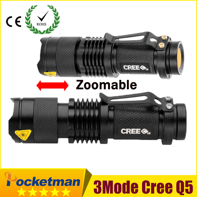 high-quality Mini Black CREE 2000LM Waterproof LED Flashlight 3 Modes Zoomable LED Torch penlight free shipping ZK94(China (Mainland))