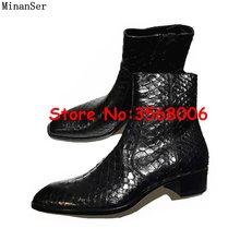 Snake Skin Leather Puntige Teen Rits Hoge Top Mannen Chelsea Laarzen Schoenen Rome Stijl Casual Lente Herfst Man Enkellaarsjes schoenen(China)