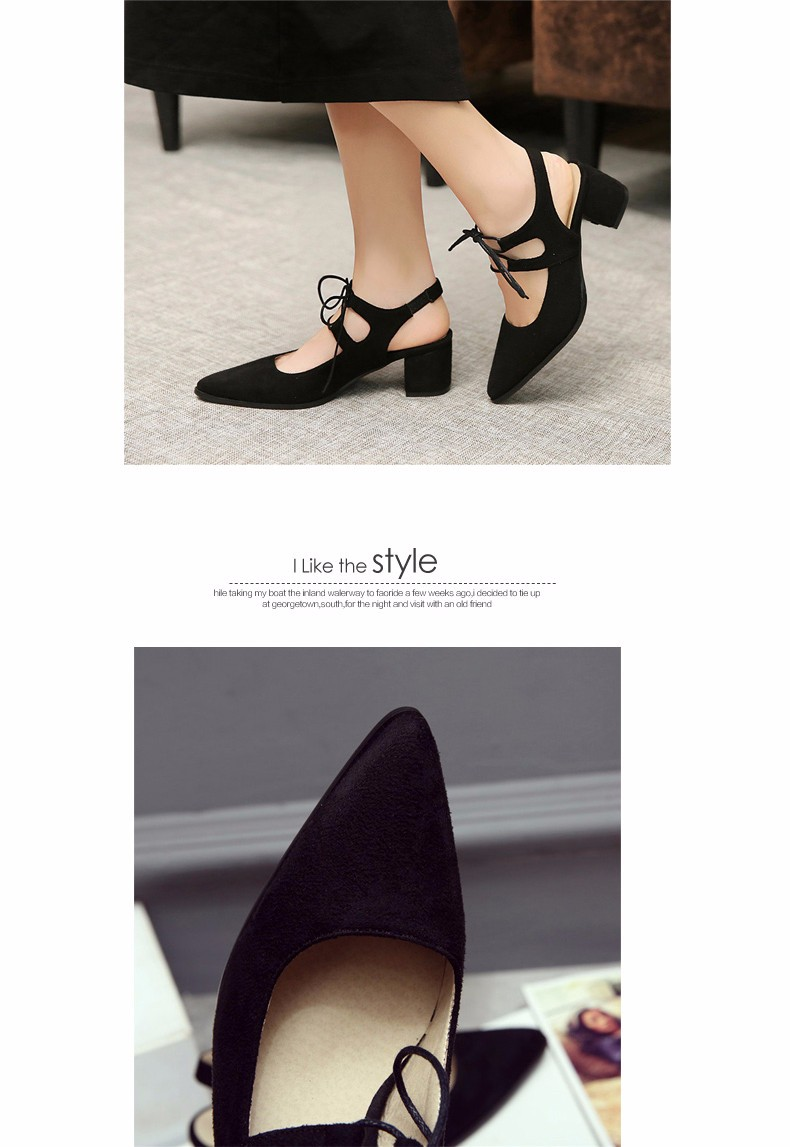 2016 Summer Hot Sexy Pointed Toe Women Pumps Square Heels Shoes High-heeled Women Ankle Strap Single Shoes Plus Size35-43 XP3.0