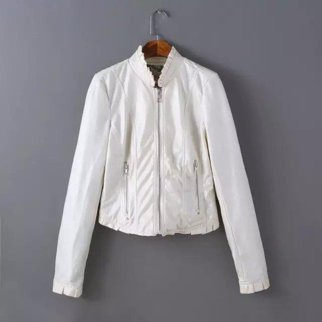 Xz139 мода женщины элегантные белые пу искусственной кожи куртка рюшами пальто старинные ...