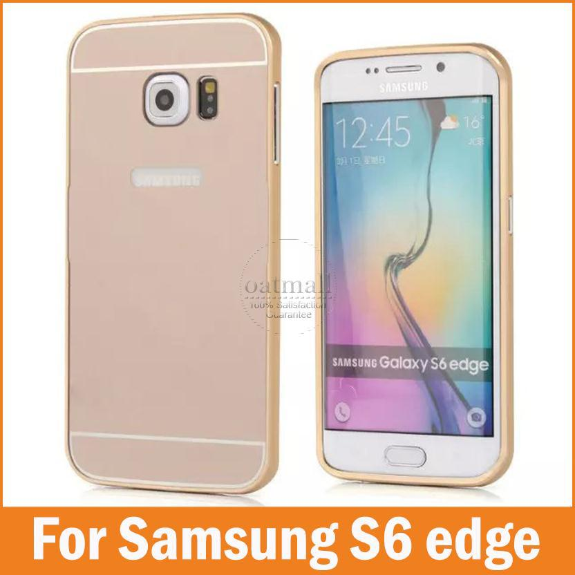 Dual Hybrid 0.5mm Metal Aluminum Bumper & Back Cover For Samsung Galaxy S6 edge Moblie Phone Cases Shockproof Shell Accessories(China (Mainland))