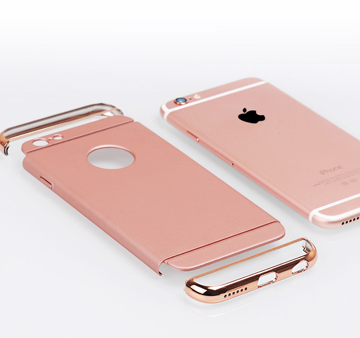 Shockproof Armor Cover Luxury Removable 3 in 1 Combo Hard Plastic Case For Iphone 6 6S Case 6Plus 6sPlus 5 5S SE Rose Gold Case(China (Mainland))