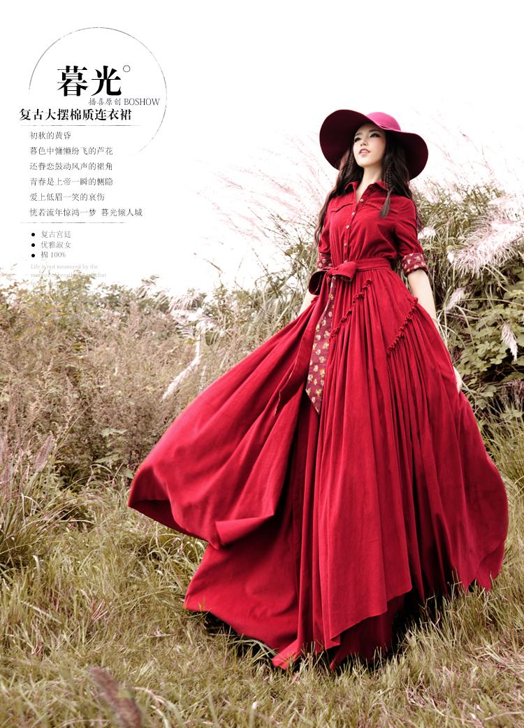 DEMON STYLE Vintage women's elegant long sleeves Swing hem dress women's dresses original design(China (Mainland))
