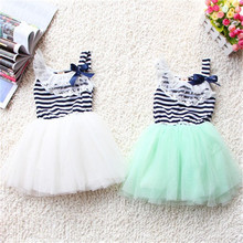 Summer Baby Girls Cotton Sleeveless Dresses Lace Bow-knot Striped Bubblet Tutu Dress 1-4Y(China (Mainland))