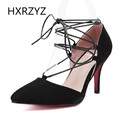Brand HXRZYZ spring summer new fashion pointed toe 8cm high heels shoes women sexy black Pointed