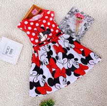 Pretty New Summer Baby Girls Cartoon Minnie Mouse Dress Polka Dots Party Princess Dress Kids Red
