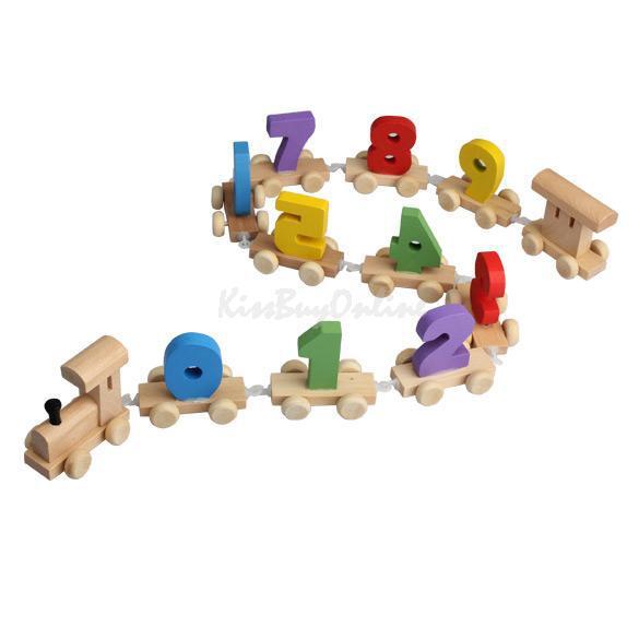 Digital Number Wooden Train Figures Railway Kids Wood Mini Toy Educational MGO3(China (Mainland))