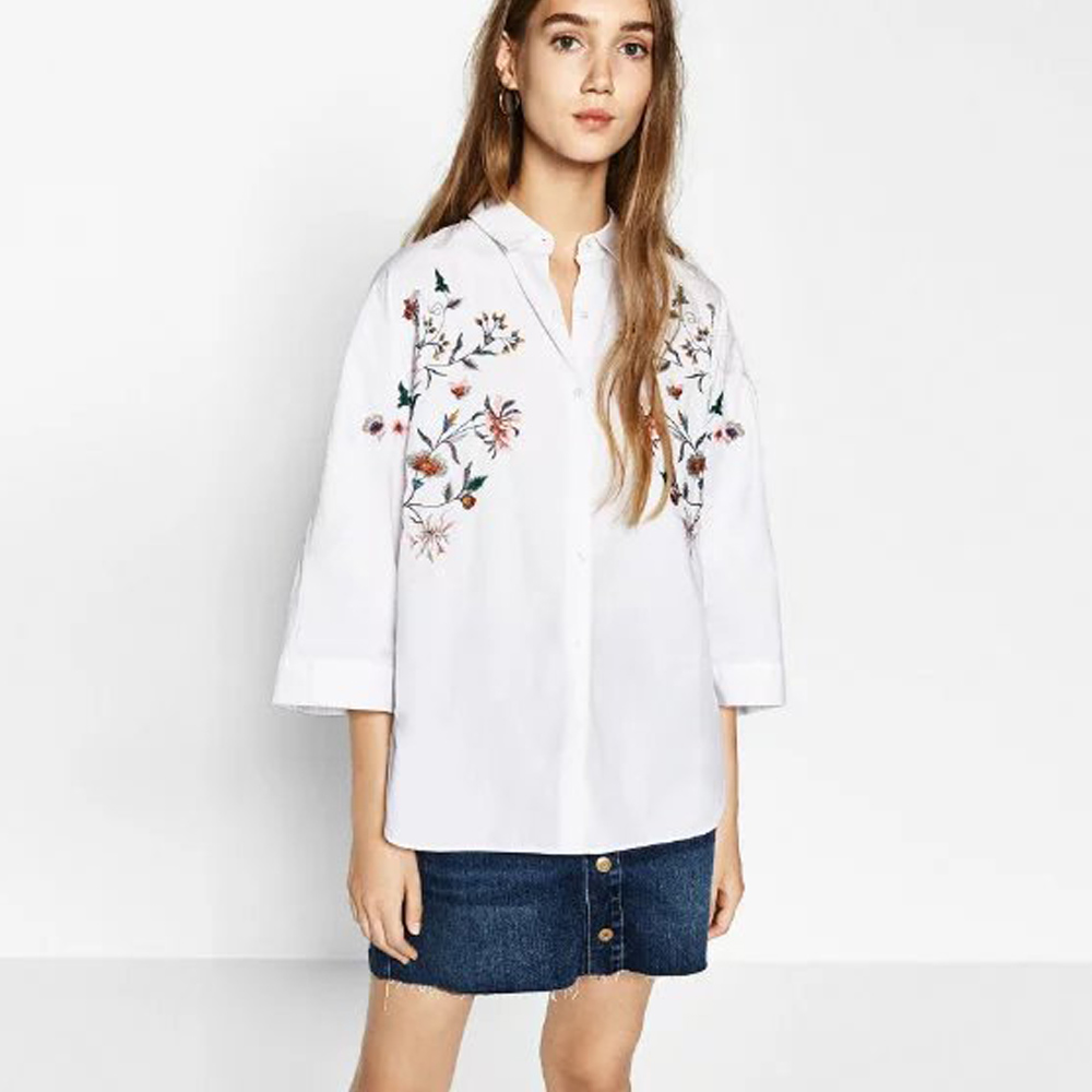 Stylish za ethnic colorful flowers pattern embroidery turn