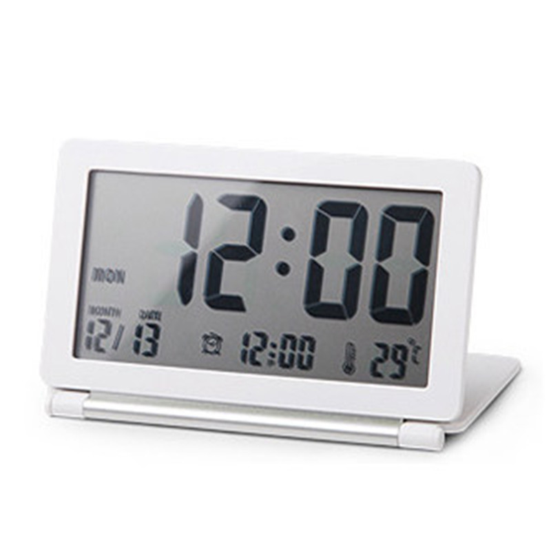 Ultra-Thin Clamshell Electronic Desk Clock LCD Travel Alarm Clock Thermometer Stylish Portable Folding Mute Digital Alarm Clock(China (Mainland))