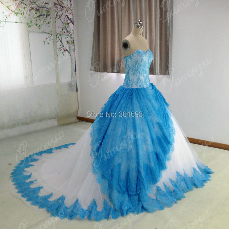 Popular wedding dresses with blue accents buy cheap for White wedding dress with purple accents