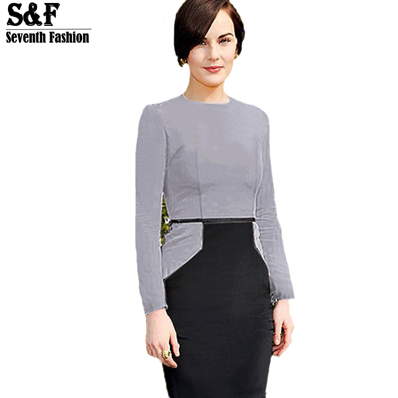 Summer Autumn Style 2015 Brand Fashion Party Casual Elegant Dresses Women Ladies Splice Long