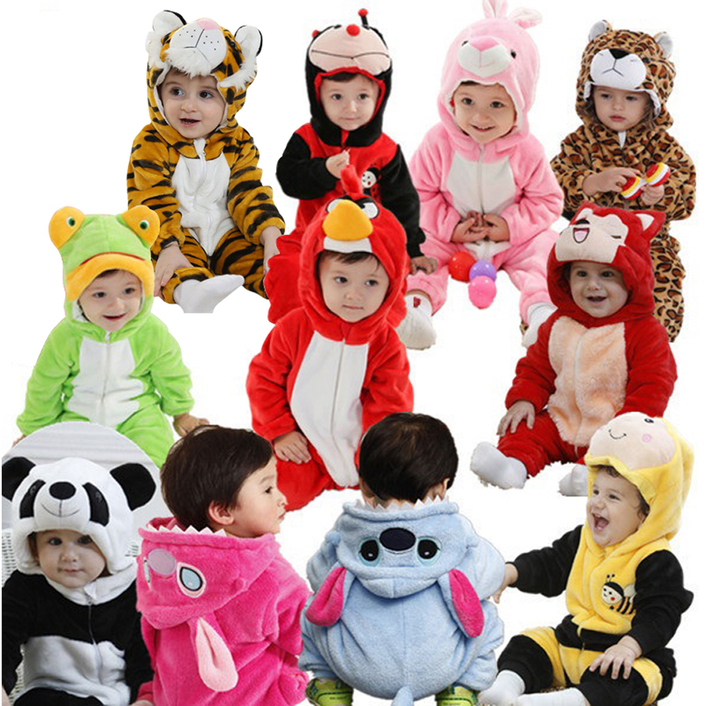 Newborn Infant Animal Romper Baby Costume Hooded Flannel Infant Romper Toddler Jumpsuit Clothes Boy Girl Baby Animal Romper Suit(China (Mainland))