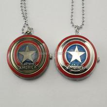 2014 New Qualit America Superheroes Steampunk Quartz Watch Bolsos Vintage Reloj Captain Star Bronze Retro Necklace