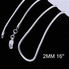 2MM 16″-24″ / free shipping 925 stamped silver plated necklace,silvers snake chain necklace,wholesale fashion chain necklace