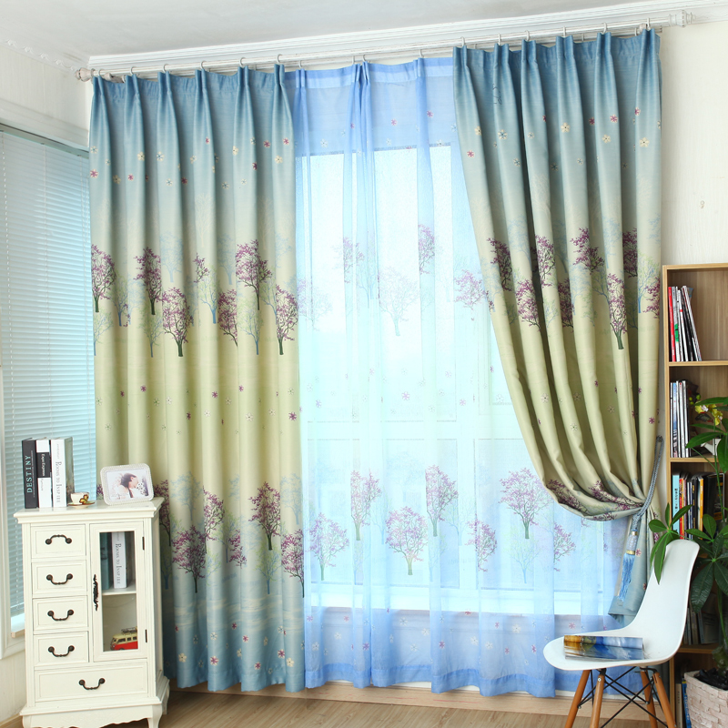 Green Tree Shade Curtains Children Room Living Room Modern Minimalist Window Curtain Short Girl