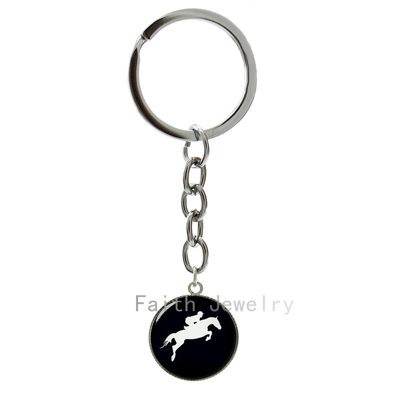 Riding silhouette image key chains Derby Day horse race sport keyring equestrian keychain cool Horseback Riding jewelry 1309(China (Mainland))