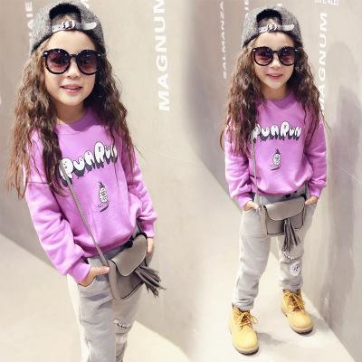 Long Sleeve Clothing Set For Girl Spring Autumn 2016 Kids Purple Sweashirt Fleece + Grey Sport Pants 2pcs Sport Suit Outfits(China (Mainland))