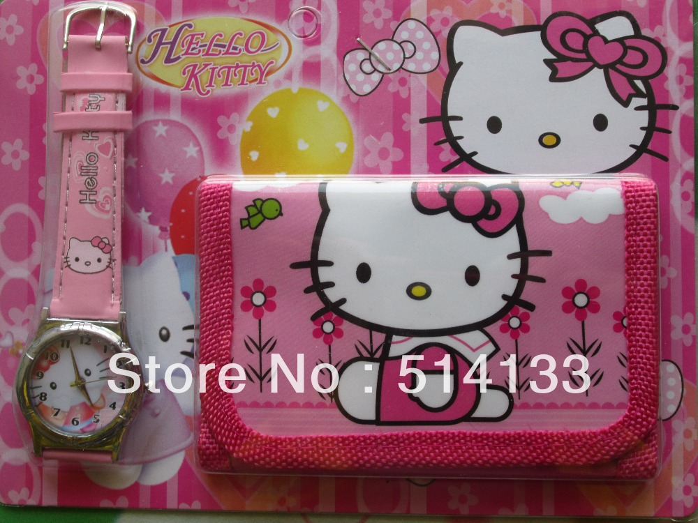18PCS New Free shipping hello kitty girls love watch Wristwatches and purses Wallet<br><br>Aliexpress