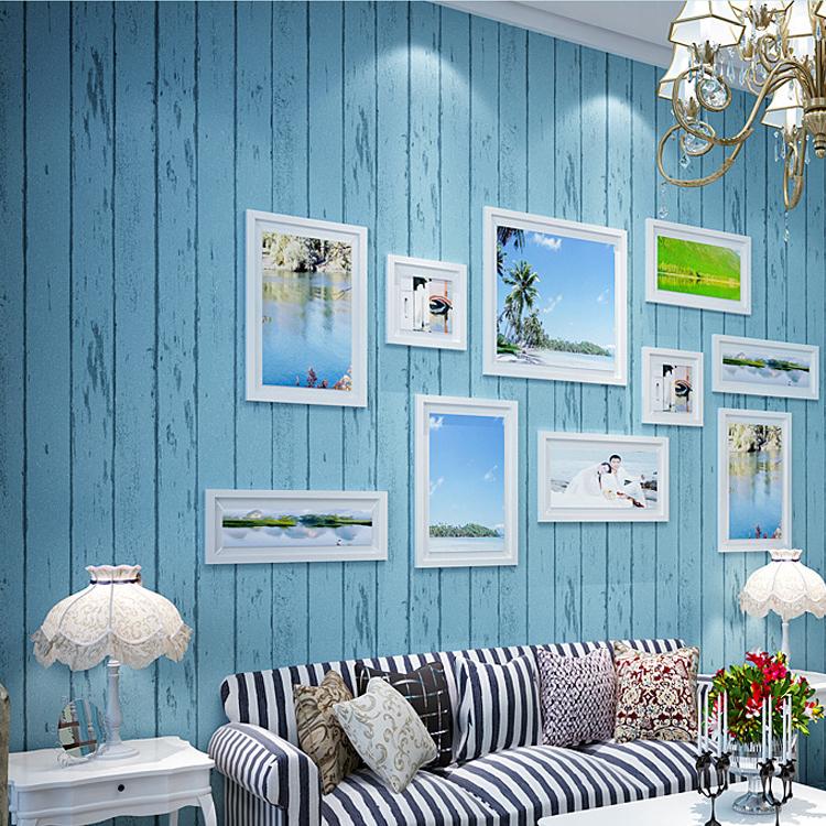 Non woven behang muurschilderingen 3d blauwe gestreepte voor wanden ...